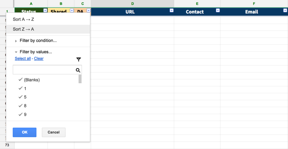 Screenshot of Google Sheets ego bait management spreadsheet