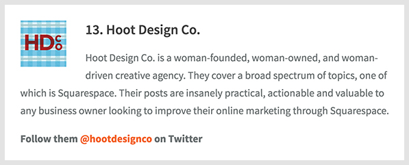 Winner bio for Hoot Design Co. on the 50 Best Squarespace Blogs post