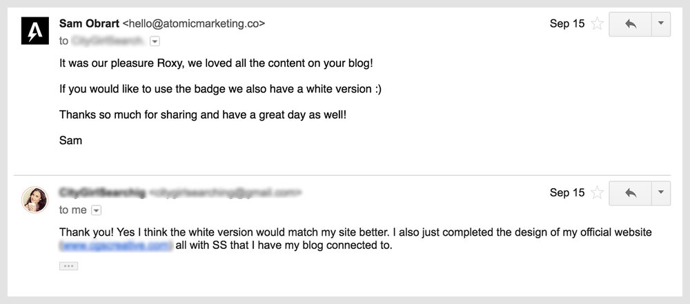 Ego link building awards badge response