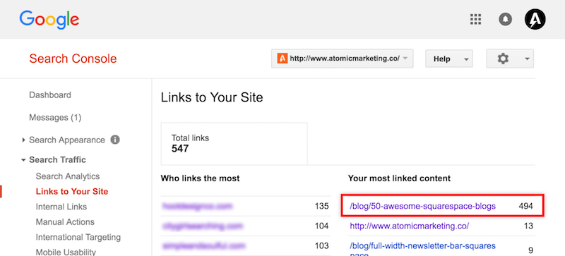 Screenshot of Google Search Console, newly acquired links from Ego Bait link building