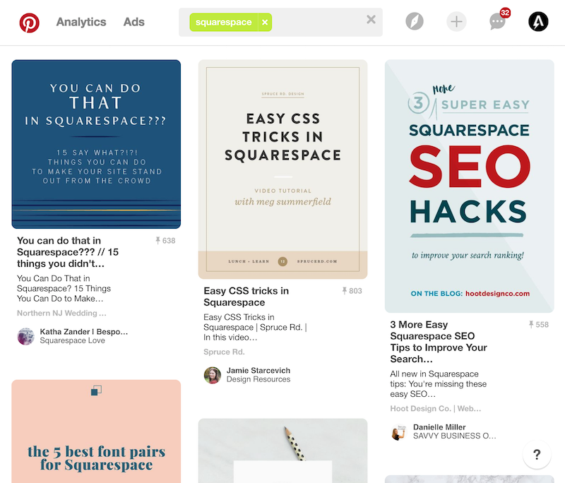 Squarespace Pinterest board