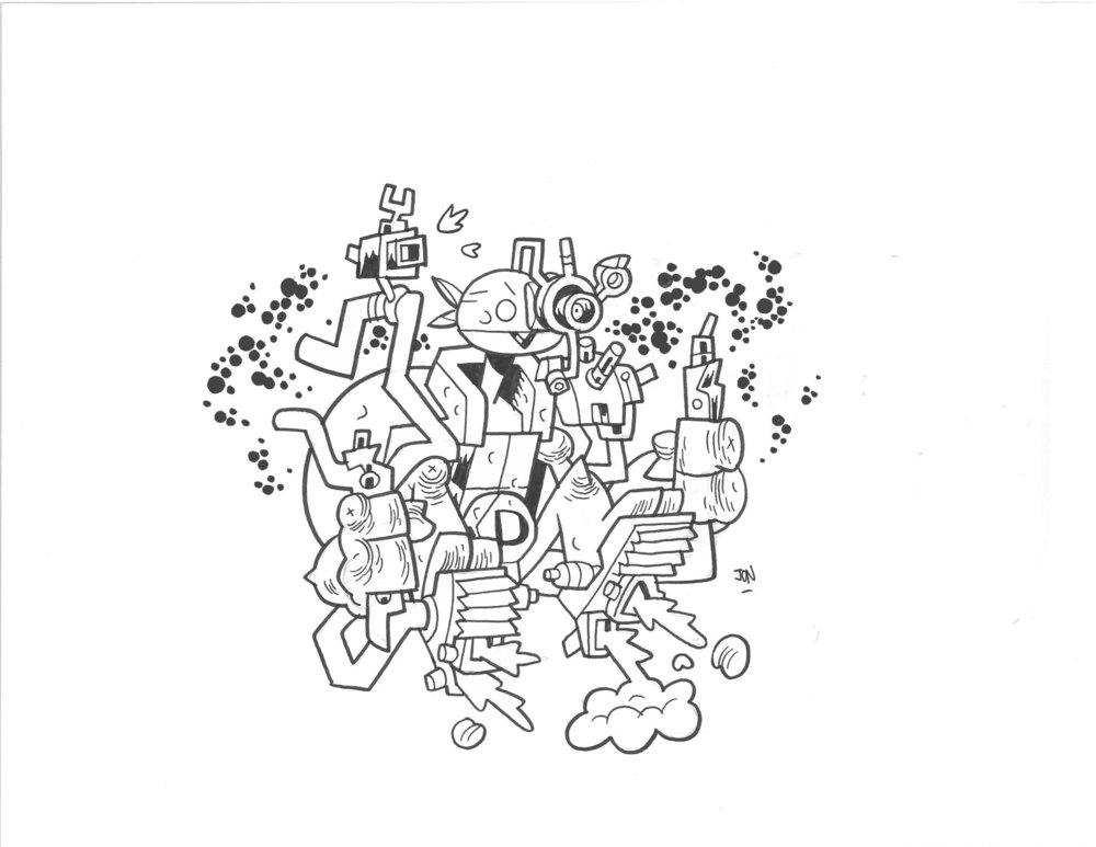 TMNT HI-TECH HARNESS DONATELLO - $40 SOLD Original Illustration / 8.5 x 11 Cardstock