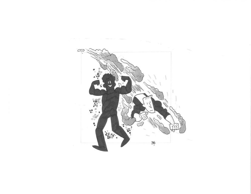 NEW MUTANTS CANNONBALL & SUNSPOT - $20 SOLD Original Illustration / 8.5 x 11 Cardstock