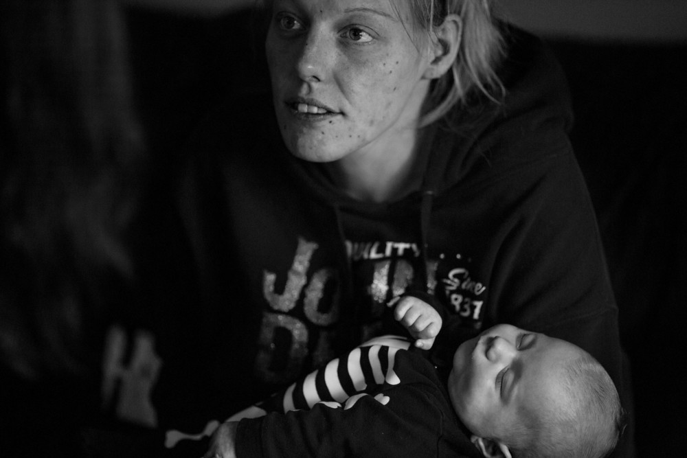 "This is the first baby that Lydia Bateman has kept.  At 28 years old she has lost custody of three previous children due to substance abuse, the children adopted out. ""I haven't used since the day they took my daughter away,"" says Lydia."
