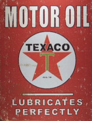 Texaco, Inc. label design detail of an used oil tin c. 1950s Dobson Museum, Miami, Oklahoma