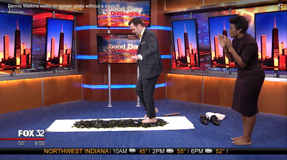 Click the image to see Dennis walk on glass on Fox 32