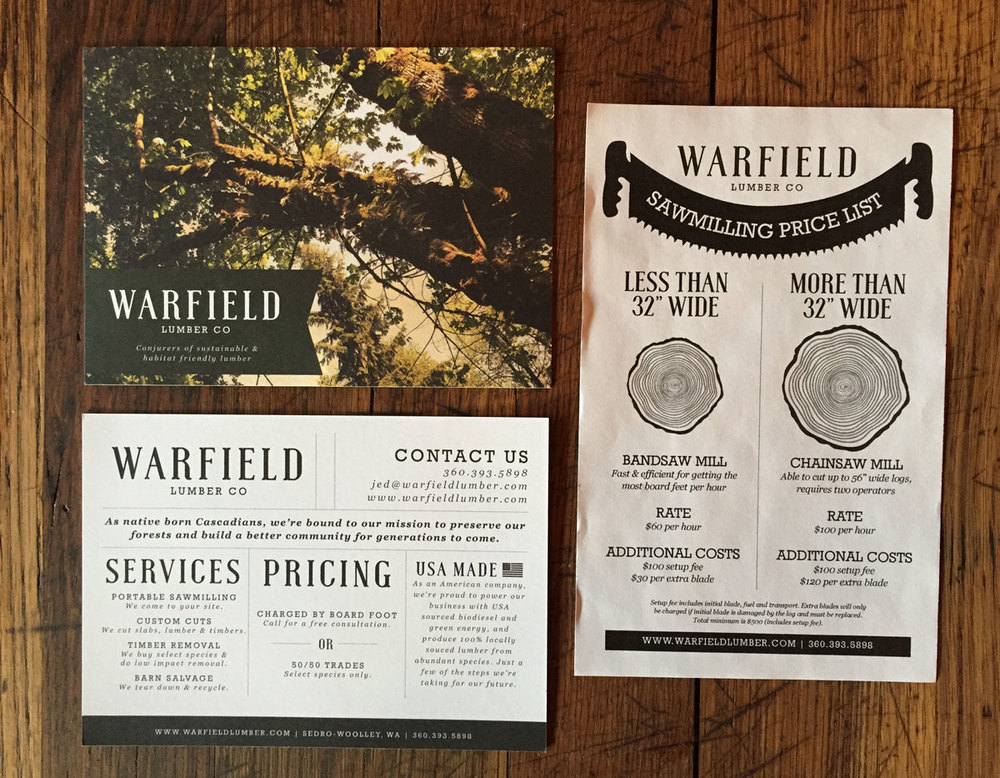 Postcard brochure and pricing takeaway
