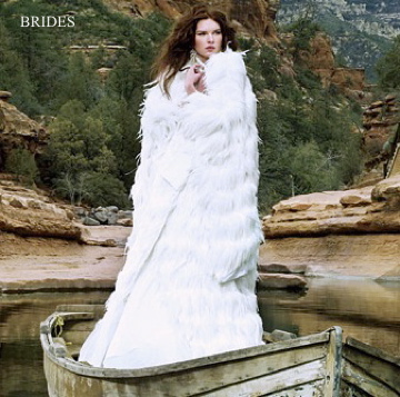BRIDES MAGAZINE - Kelima K white feather wedding kimono
