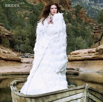 BRIDES MAGAZINE - Kelima K white feather wedding kimono