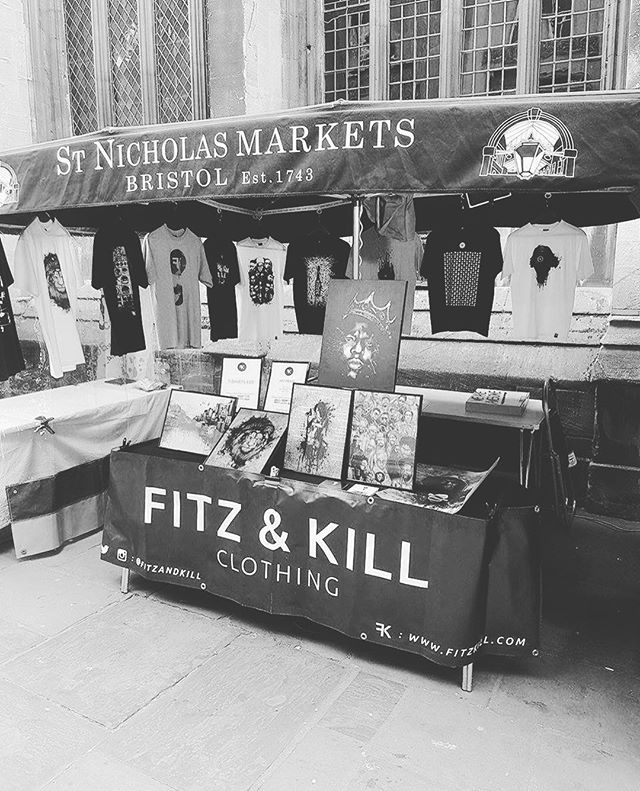 So every Saturday we supplying that top quality product in #Bristol at #stnicholasmarket 10 ~ 5 come check out our range of #fitzandkill #tshirts and #artprints from @mrskillmatik  #clothingco #streetwear #designer #clothing #urbanwear #soundsystemculture #grime #dnb #menswear #style #music #shirt #fashion #instafollow #instalike #fashionblogger #stall #market #entrepreneur #bristol247 #skillmatik