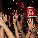 Tunisian Protesters Hands, Photo by America Abroad Media