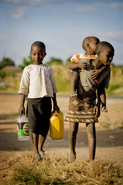 Zimbabwe, Children Carrying Water, Photo Courtesy of IRIN News