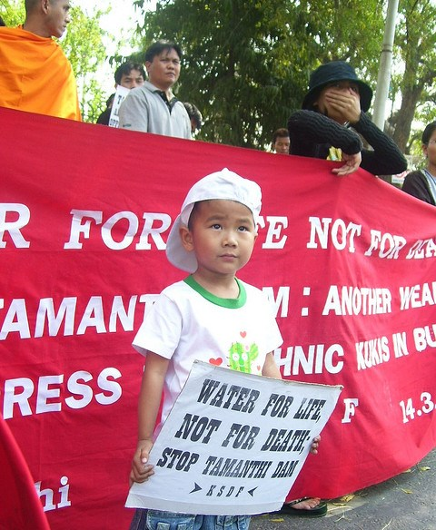 Boy Protests Tamanthi Dam Project, Photo by International Rivers