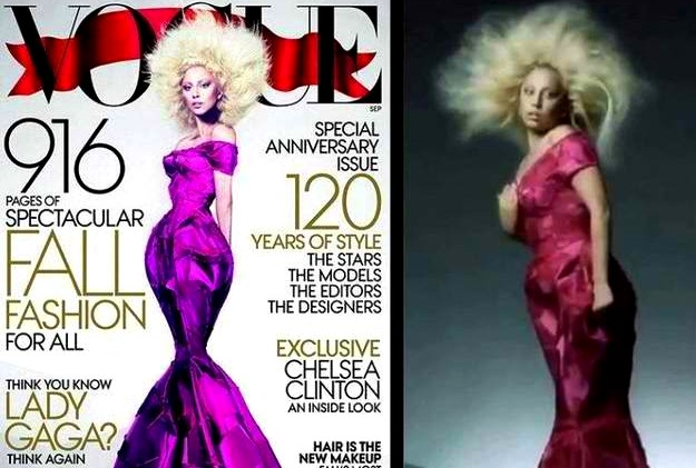 Lady Gaga, Vogue Aug. 2012, Actual vs. Photoshop Image of Star, Photo released by Vogue from Buzzfeed Feature