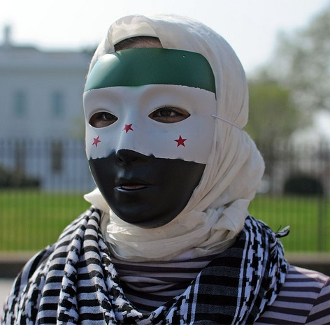 Syrian Protester in front of White House, Photo by KSR Foto
