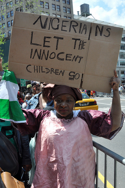 Union Square, New York, Protesters Against Boko Haram Kidnappers, Photo by Michael Fleshman