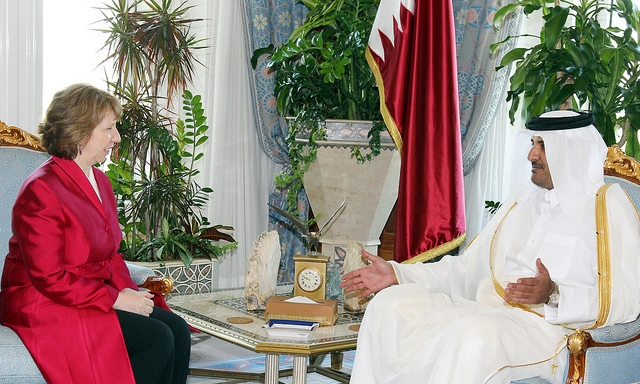 sheikh tamim bin hamad al-thani amir of qatar e-u. high representative for foreign and security policy and Vice president of the european commission catherine ashton in doha, qatar