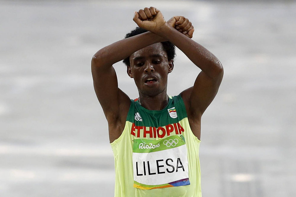 Feyisa Lilesa, Ethiopian Olympian, Oromo Activist, Rio 2016 Olympics, Photo by Jeso Carneiro