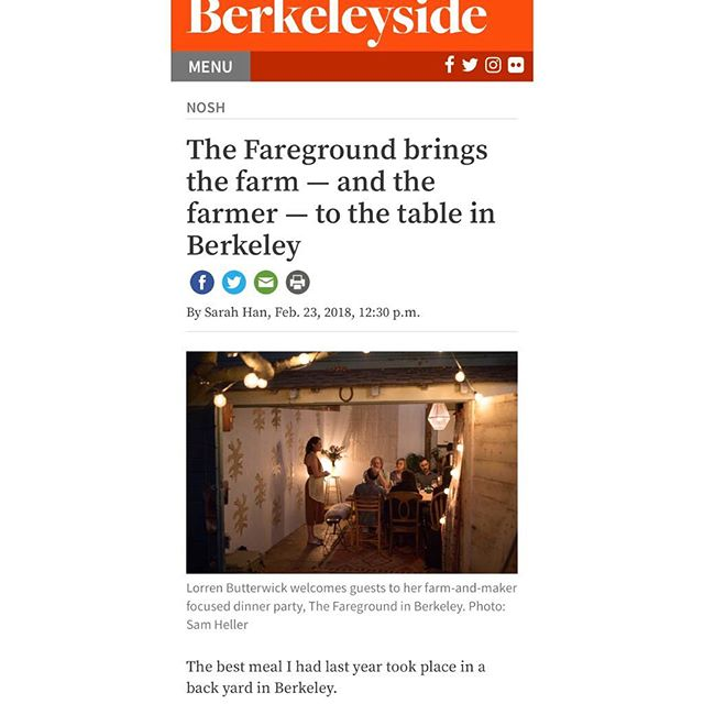 Thank you @berkeleyside for this awesome feature article! A great snapshot of a fareground evening! Take a look at the full article at the link in our bio. . . Unfortunately/fortunately, we're all sold out of both dinners, but keep your ears and eyes open for future dinners and events! 🧡 . . #farmtofork #farmtotable #organic #local #berkeley #foodsystem #eatlocal #eatorganic #food #chef #womeninbiz