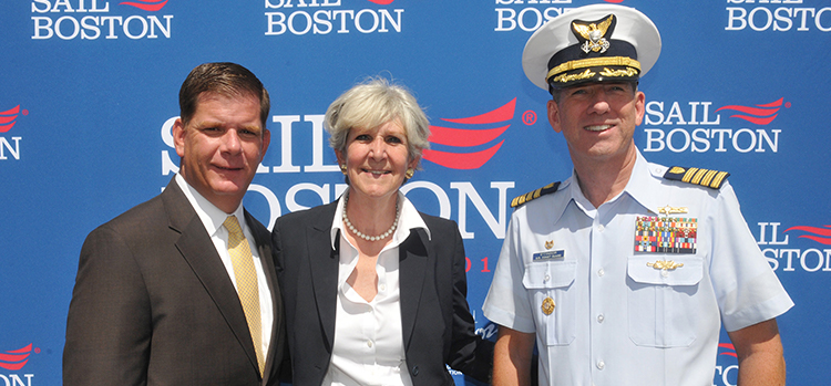 Dusty Rhodes, President of Conventures, Inc., joined by Boston Mayor Martin J. Walsh and Capt. John O'Connor.