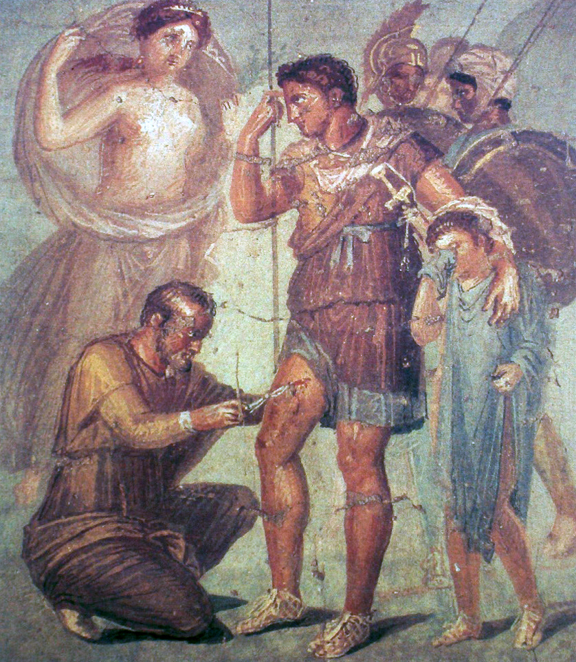 "Fresco showing Aeneas being healed by Iapyx, probably 1st century. Found in Pompeii, now in  Museo Archeologico Nazionale di Napoli.   Image by "" JoJan "", distributed under  CC 4.0 , via  Wikimedia Commons"