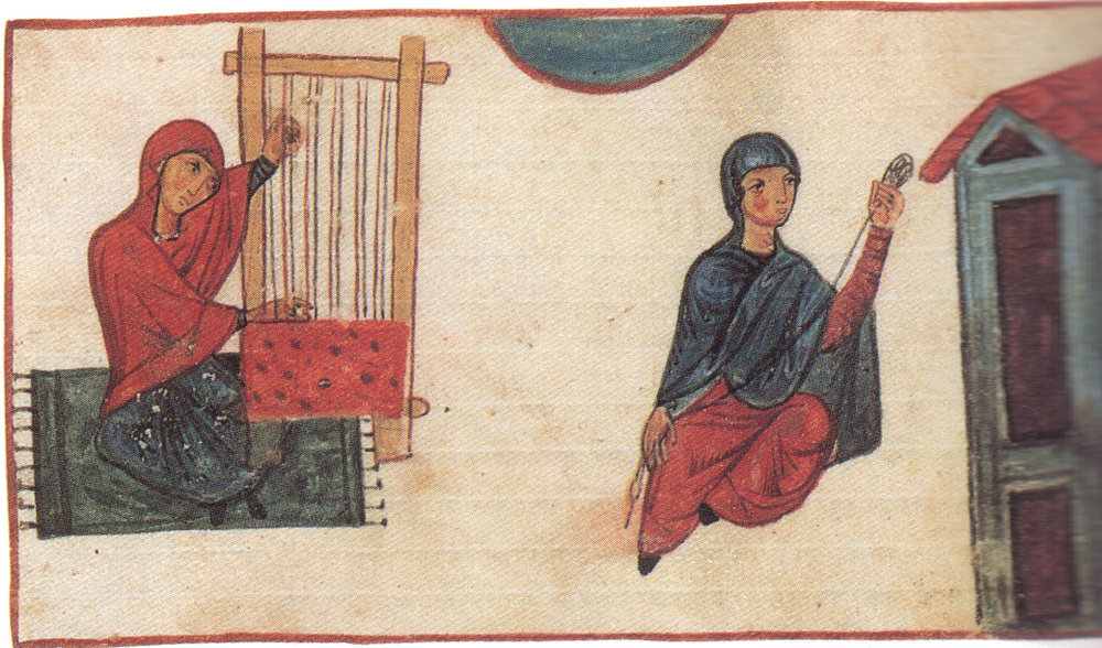 Women weaving and preparing silk. Unknown, 11th C. Image by Maxim91(link defunct) distributed via Wikimedia Commons.