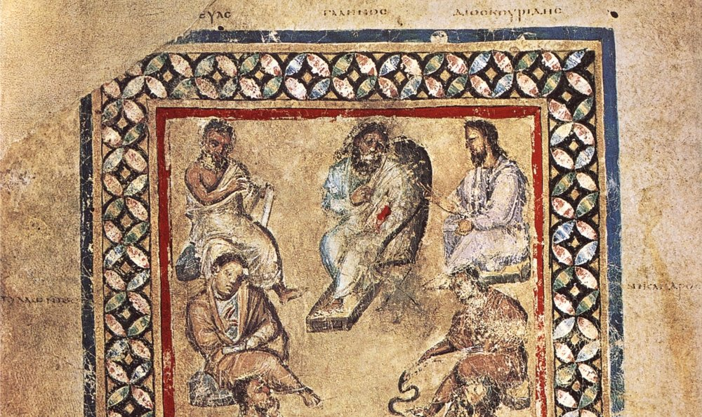 Image: folio 3v of the Vienna Dioscorides MS (produced around 500 CE). Public domain via  Wikimedia Commons . Clockwise from left: Apollonius (unclear which one); Krateus; Galen; Dioscorides; Nicander. Included on folio 3v but not pictured here: Andreas and Rufus.