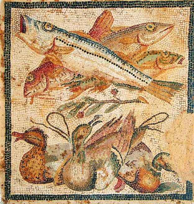 Dinner in Pompei. Da Pompei, Casa del Granduca di Toscana, IC 2, 27 Napoli, Museo Archeologico Nazionale. From the exhibition Mito e Natura that took place at the Palazzo Reale in Milan (31 July 2015 - 10 January 2016). Image from the Milan Museum Guide.