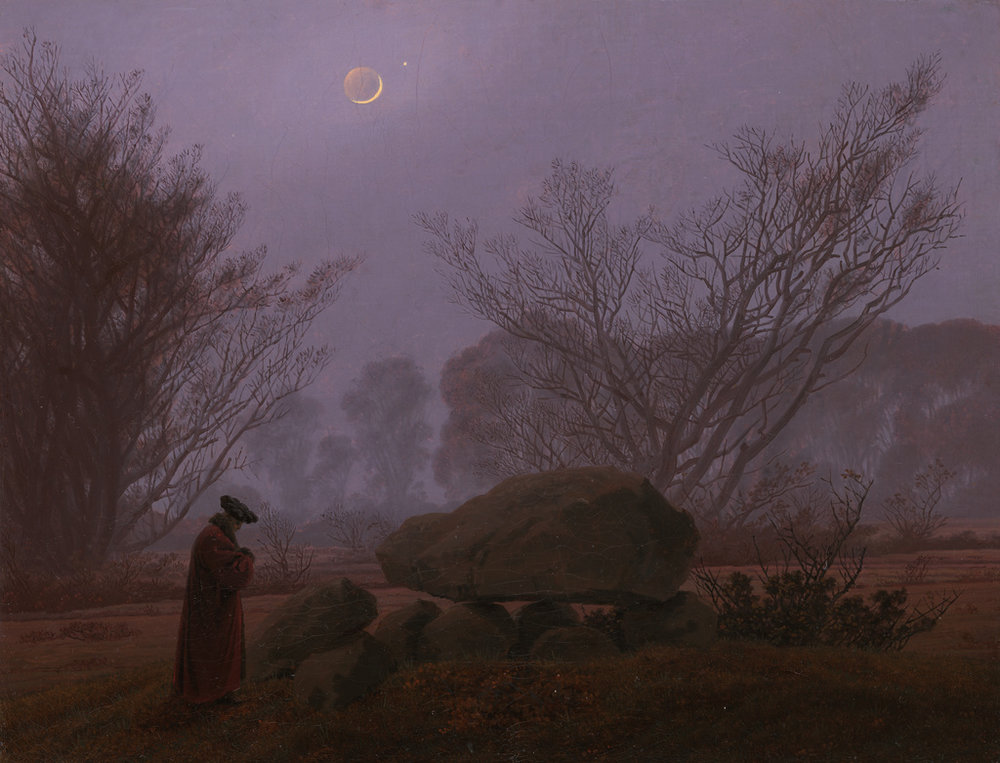 Caspar David Friedrich (1774 - 1840),  A Walk at Dusk  (around 1830-35). From the The J. Paul Getty Museum, Los Angeles, distributed via the Getty's  Open Content Program .