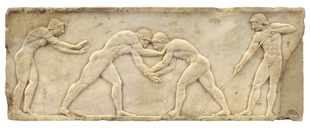 Wrestlers training. Scene depicted on the marble base of a funerary kouros (naked youth), found in Athens, c. 510-500 BC. From the  National Archaeological Museum in Athens .