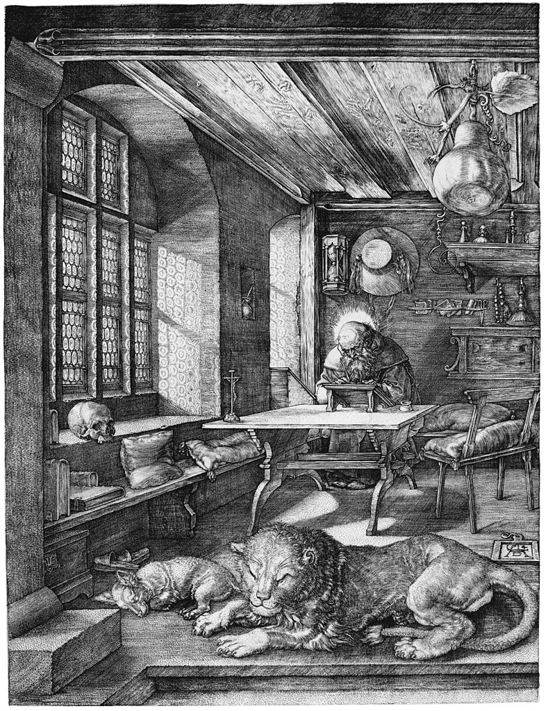 Dürer's 1514 engraving of St. Jerome in his study:  Hieronymus im Gehäus , copyright SLUB /  Deutsche Fotothek .