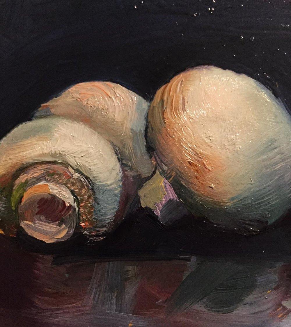 Mushrooms.  Painting  from  Samantha Stover's  series of still lifes.