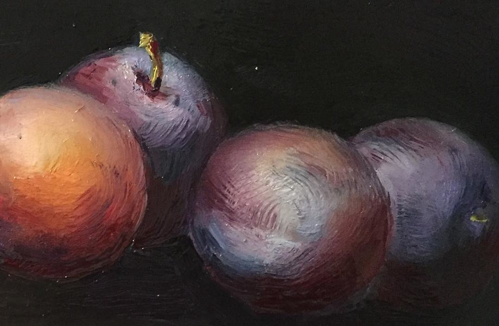 Plums.  Detail  from a still life by  Samantha Stover .