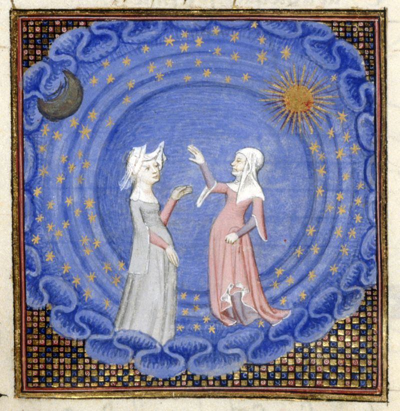 From Christine de Pizan's   Le livre du chemin de long estude.   Harley MS 4431, f. 189v. Images of the ms. are  here . Copyright 2005 British Library.