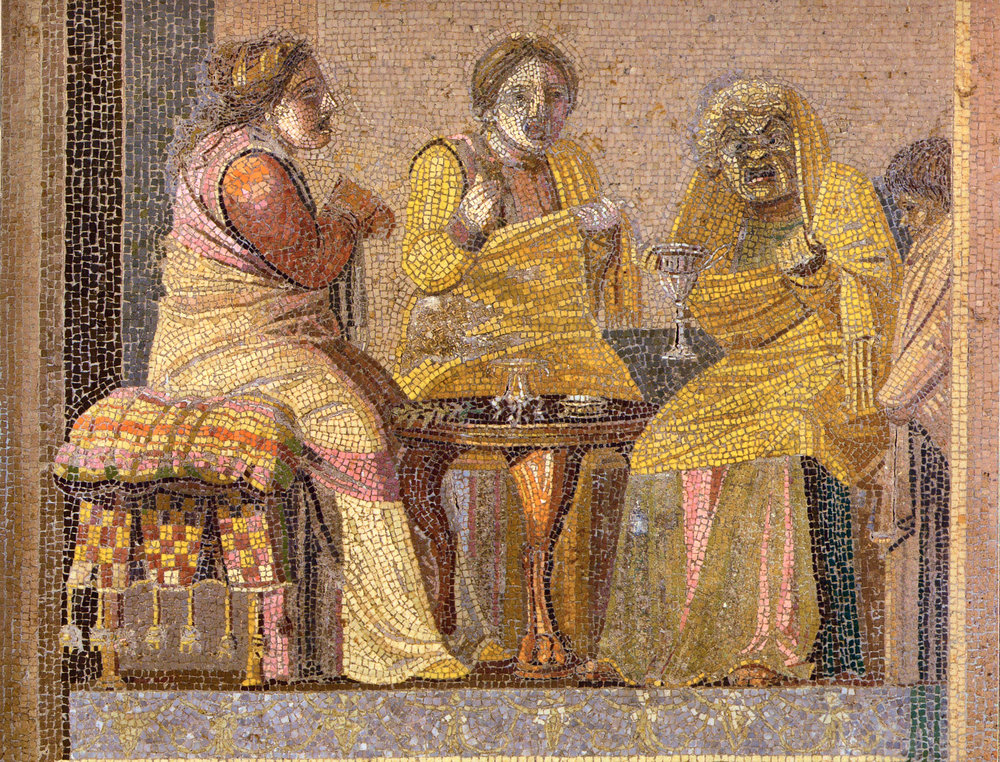 Dioscorides of Samos' mosaic depiction of a play involving two women paying a visit to a witch or diviner. Second century. The mosaic was found in the Villa del Cicerone in Pompeii, and is now at the Museo Archeologico Nazionale in Naples. via  Wikimedia.