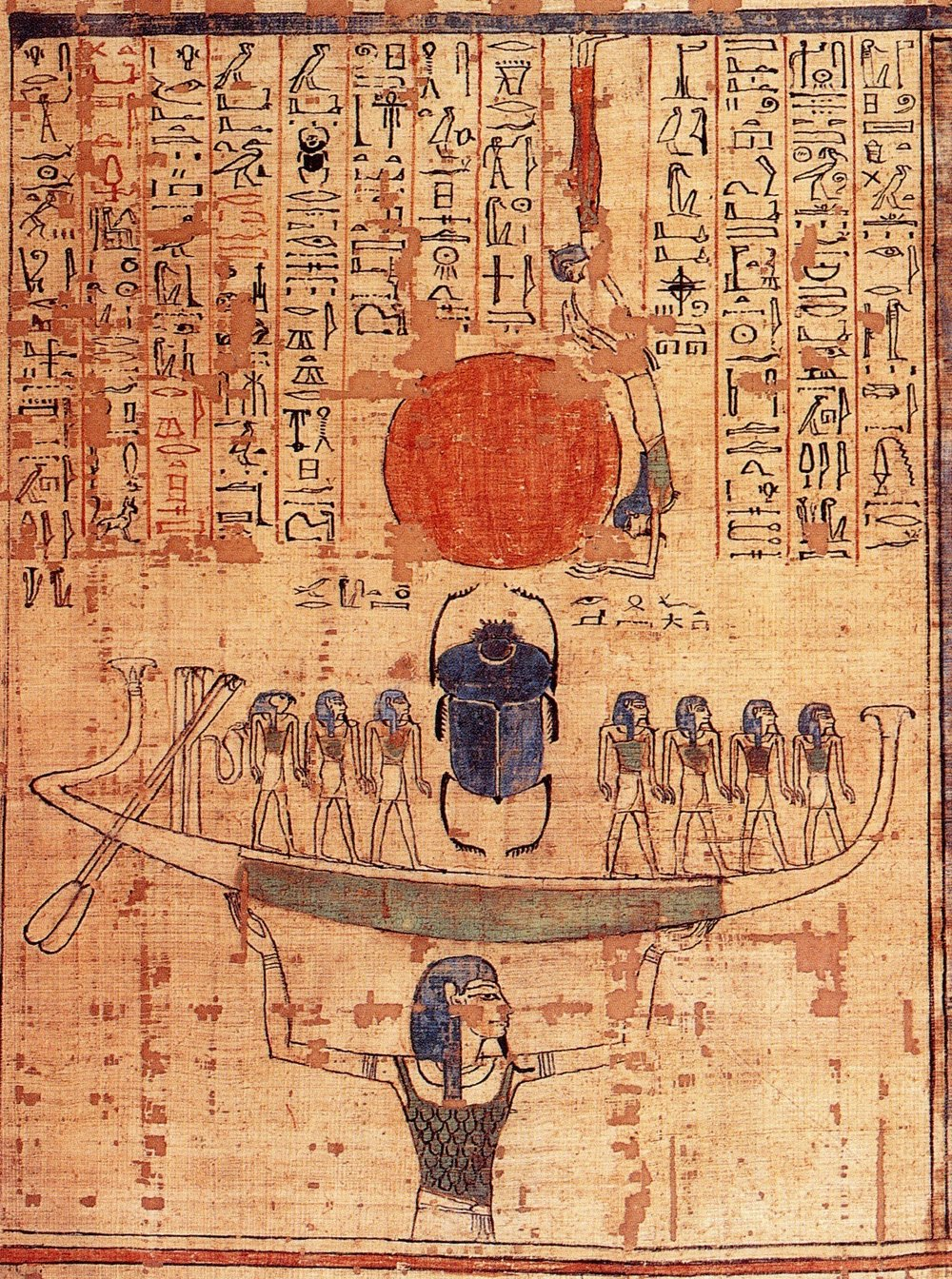 "This image via  wikimedia  commons: ""Nun, god of the waters of chaos, lifts the barque of the sun god Ra (represented by both the scarab and the sun disk) into the sky at the beginning of time."" From the  Book of the Dead of Anhai, ~1050 BCE. The other sun-god,  Khepri , is also a god of creation, connected closely with the sun, and represented by the  scarab  - a dung beetle. The Walters' in Baltimore has a  nice scarab collection  online."