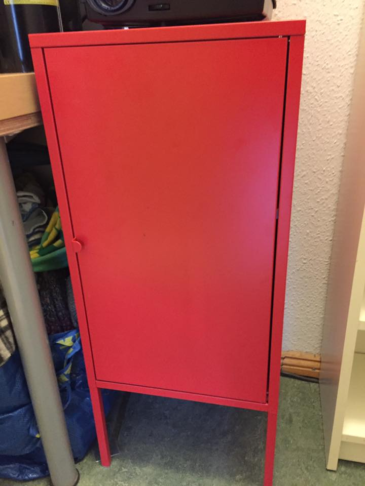 SOLD - Red Fire Cabinet: (Ikea LIXHULT) Red Metal, don't know if its actually fire safe… 35w x 60h x 35 deep cm. One shelf inside. VG condition. Lightweight, easily transportable. NP €30. Asking €10.
