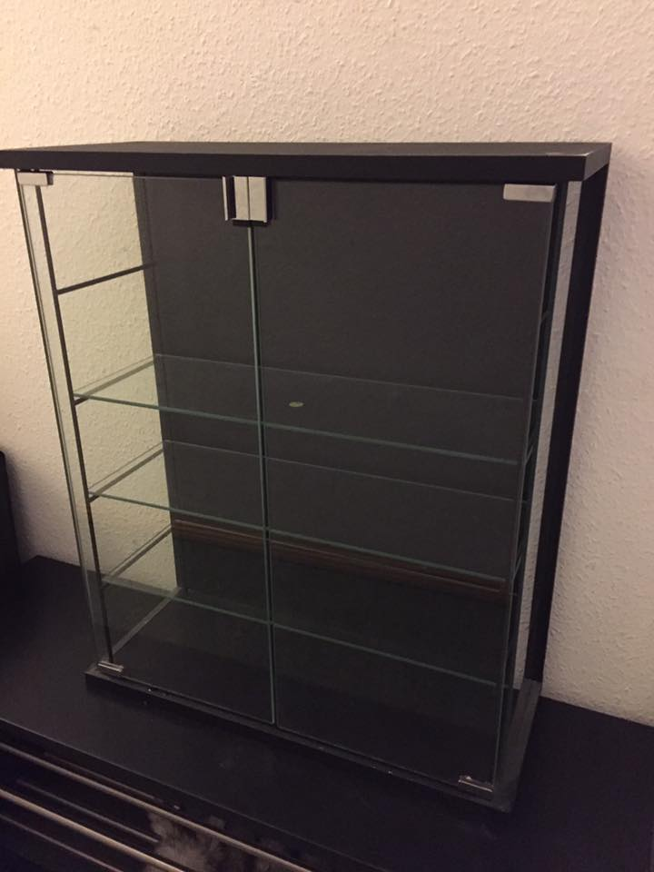 Apothecary/ Bath/ Kitchen/ Display cabinet - Apothecary/Bath/Kitchen/Display cabinet: Black and Glass. 3 glass shelves (can be removed easily for transport). Very Sturdy, Magnetic doors. 61 w 72 h x 25 deep. Asking €20.