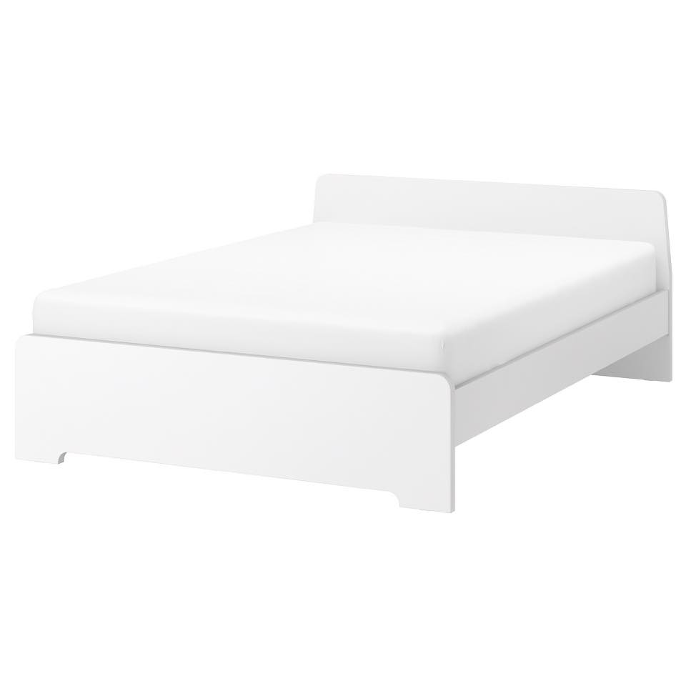 SOLD - White Bed Frame 160 x 200: (Ikea ASKVOLL) Complete. Comes with wooden slats (Luroy). Already disassembled. Good Condition. Originally €159, asking €20.