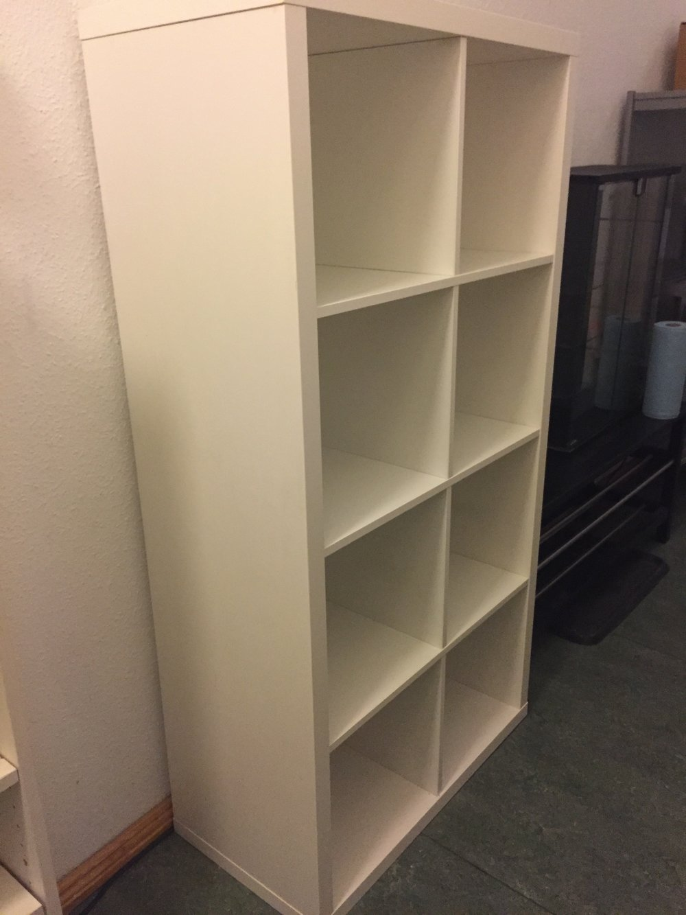 SOLD - Ikea Kallax 2x2 cubby. White. Classic. 77 x 147 x 39 deep. Orientation can be horizontal or vertical. Like New Condition, gently used, clean. All Purpose, great for storage, books, clothing, etc. NP €59, asking €25.