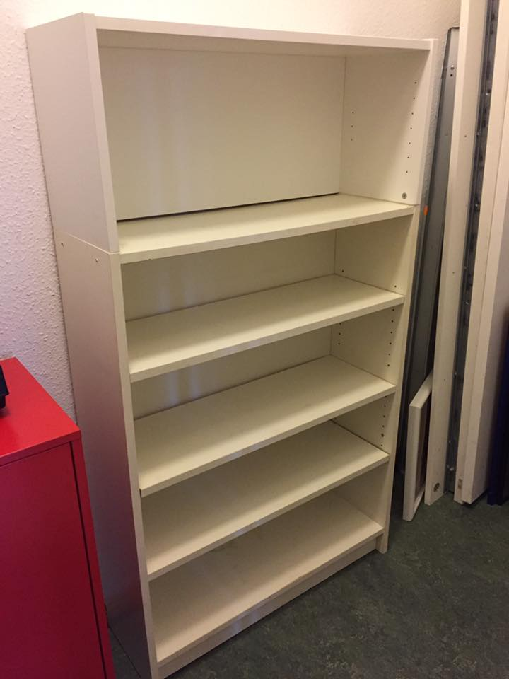 SOLD - Ikea Classic White Billy Shelf. Older Unit 80 w x 106 h x 28 deep, includes NEW Aufsatzregal (extra top shelf) making it **141 cm tall** total. Basic unit is in acceptable/good condition, additional shelf like-new condition. All-Purpose, great for books, kitchen, storage, etc. NP €25 + €20 for extra shelf. Asking €15.