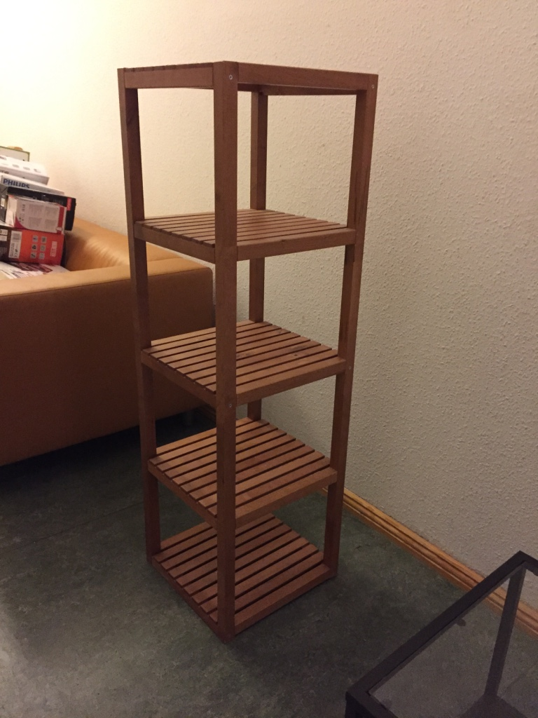SOLD - Brown Wood Shelf – Ikea MOLGER. Darker wood than the one currently available. **Legs have been shortened/removed.** Otherwise in good condition. 37 x 37 x 123 cm tall. Ikea price €39,99 – asking €10.