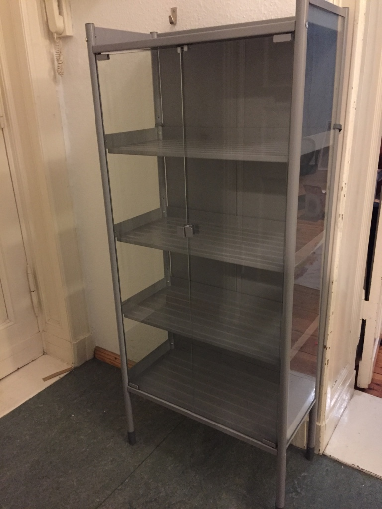 SOLD - Studio/Apothecary Cabinet: (Ikea HINDO) Gray. 63w x 144h x 31 deep cm. Good Condition. Great for Art Supplies, Plants, Decorative Items, anything for display. 4 inner shelves + top shelf; Magnetic doors. Can be disassembled for safe carriage. NP €99,00. Asking €30.