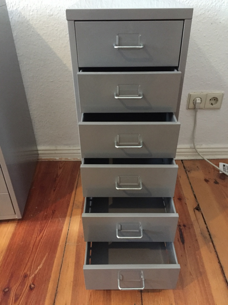 Metal Drawer Unit(s) – Utility / Filing Cabinet with 6 Drawers. Ikea HELMER in Gray. - Metal Drawer Unit(s) – Utility/Filing Cabinet with 6 Drawers. Ikea HELMER in Gray. TWO for sale: One in Very Good, gently used condition and another with some minor paint marks on the front. Multi-purpose item, Great for Office or Workshop. On Wheels. 28 w x 41 deep x 69 cm high. Original Price €29.99 each – Asking €15 for One, take both for €20.