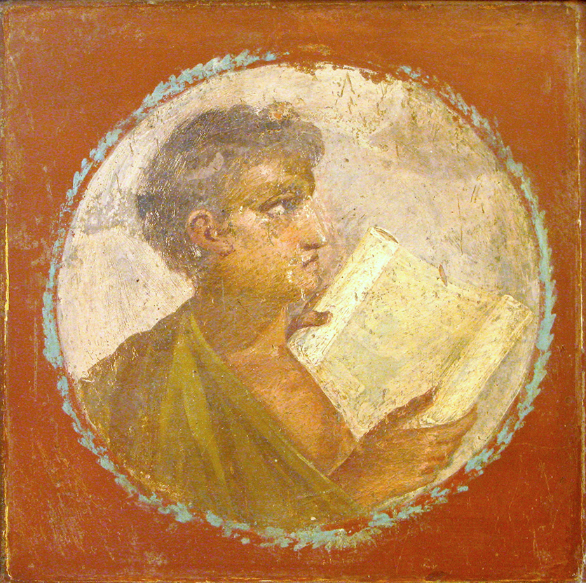 Checking notes. Fresco at the  Museo archeologico nazionale di Napoli . Image by  Olivierw  via  Wikimedia Commons .