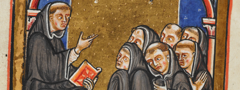 From the Life of St. Cuthbert. British Library, Yates Thompson ms. 26, f. 35v. From the  British Library digitized mss. collection .