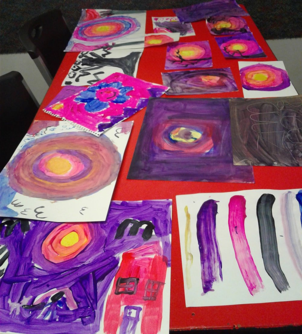 Jan's Tutoring House, 2016. Washington, DC  Teaching Artist  In the fall of 2016 I was a community teaching artist with elementary students at Jan's Tutoring House in Washington, DC. I taught collaborative and independent art making lessons to students who were enrolled in the after school program. As a teacher I focused on engaging students with confidence-building art lessons that celebrated individual effort.