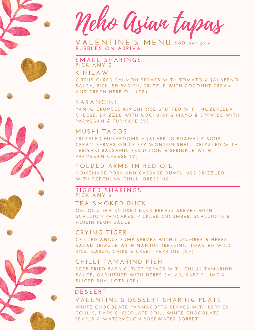 Gold Pink Leaf Hearts Valentine's Day Food and Drink Menu.png