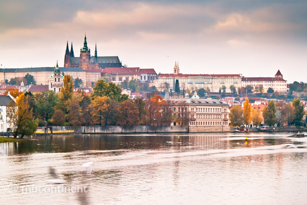 Prague Castle from across Vltava River