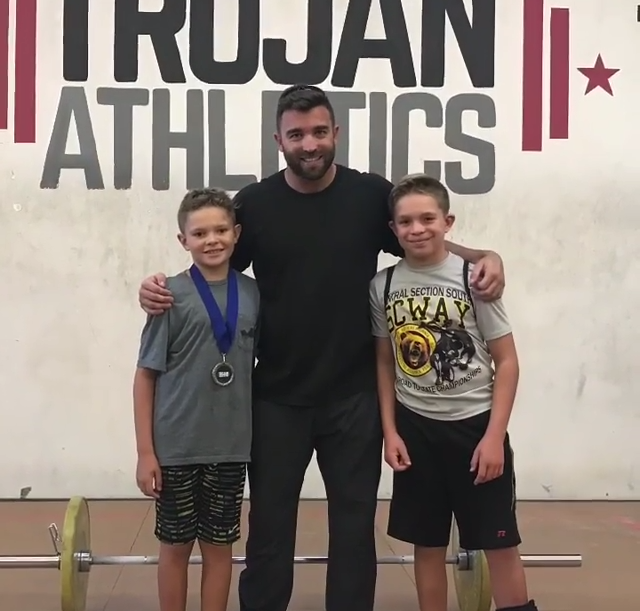 Brogan (10 yo), Chris, and Steele (12 yo) at the Trojan Weightlifting Meet in October 2017